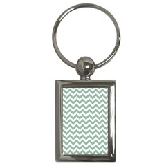 Jade Green And White Zigzag Key Chain (rectangle) by Zandiepants