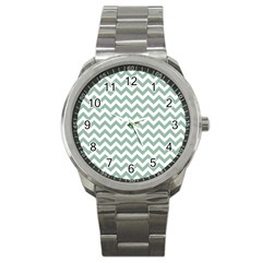 Jade Green And White Zigzag Sport Metal Watch by Zandiepants