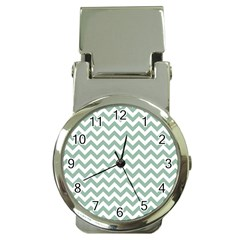 Jade Green And White Zigzag Money Clip With Watch by Zandiepants