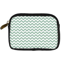 Jade Green And White Zigzag Digital Camera Leather Case by Zandiepants