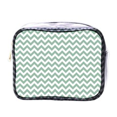 Jade Green And White Zigzag Mini Travel Toiletry Bag (one Side)