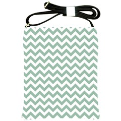 Jade Green And White Zigzag Shoulder Sling Bag by Zandiepants