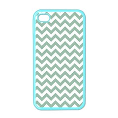 Jade Green And White Zigzag Apple Iphone 4 Case (color) by Zandiepants