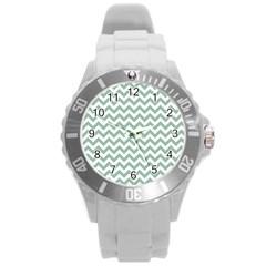 Jade Green And White Zigzag Plastic Sport Watch (large) by Zandiepants