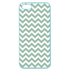 Jade Green And White Zigzag Apple Seamless Iphone 5 Case (color) by Zandiepants