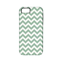 Jade Green And White Zigzag Apple Iphone 5 Classic Hardshell Case (pc+silicone) by Zandiepants