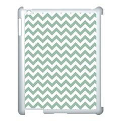 Jade Green And White Zigzag Apple Ipad 3/4 Case (white) by Zandiepants