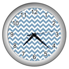 Blue And White Zigzag Wall Clock (silver) by Zandiepants