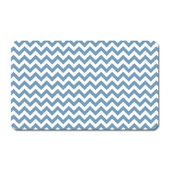 Blue And White Zigzag Magnet (rectangular) by Zandiepants