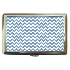 Blue And White Zigzag Cigarette Money Case by Zandiepants