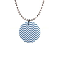 Blue And White Zigzag Button Necklace