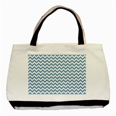Blue And White Zigzag Twin Sided Black Tote Bag by Zandiepants