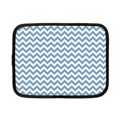 Blue And White Zigzag Netbook Sleeve (small) by Zandiepants