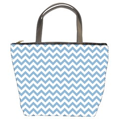 Blue And White Zigzag Bucket Handbag by Zandiepants