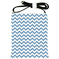 Blue And White Zigzag Shoulder Sling Bag by Zandiepants