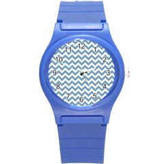 Blue And White Zigzag Plastic Sport Watch (small) by Zandiepants