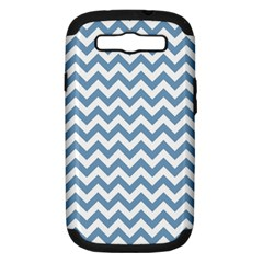Blue And White Zigzag Samsung Galaxy S Iii Hardshell Case (pc+silicone) by Zandiepants