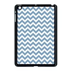 Blue And White Zigzag Apple Ipad Mini Case (black) by Zandiepants