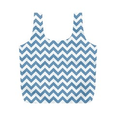 Blue And White Zigzag Reusable Bag (m) by Zandiepants