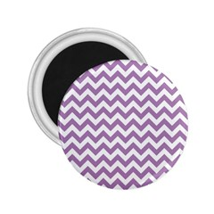 Lilac And White Zigzag 2 25  Button Magnet by Zandiepants