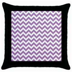 Lilac And White Zigzag Black Throw Pillow Case by Zandiepants
