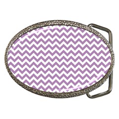 Lilac And White Zigzag Belt Buckle (oval) by Zandiepants