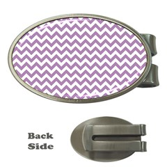 Lilac And White Zigzag Money Clip (oval) by Zandiepants