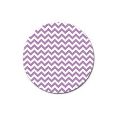 Lilac And White Zigzag Magnet 3  (round) by Zandiepants