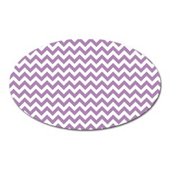 Lilac And White Zigzag Magnet (oval) by Zandiepants
