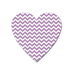 Lilac And White Zigzag Magnet (heart) by Zandiepants