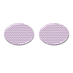Lilac And White Zigzag Cufflinks (oval) by Zandiepants