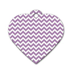 Lilac And White Zigzag Dog Tag Heart (Two Sided) by Zandiepants