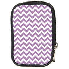 Lilac And White Zigzag Compact Camera Leather Case by Zandiepants