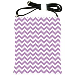 Lilac And White Zigzag Shoulder Sling Bag by Zandiepants