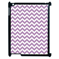 Lilac And White Zigzag Apple Ipad 2 Case (black) by Zandiepants