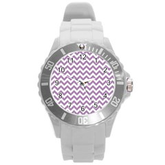 Lilac And White Zigzag Plastic Sport Watch (large) by Zandiepants