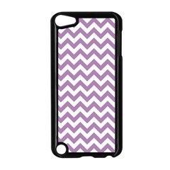 Lilac And White Zigzag Apple Ipod Touch 5 Case (black) by Zandiepants