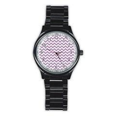 Lilac And White Zigzag Sport Metal Watch (black) by Zandiepants