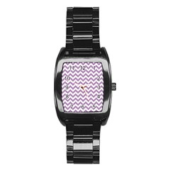 Lilac And White Zigzag Stainless Steel Barrel Watch by Zandiepants
