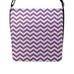 Lilac And White Zigzag Flap Closure Messenger Bag (large) by Zandiepants