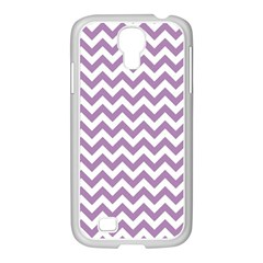Lilac And White Zigzag Samsung Galaxy S4 I9500/ I9505 Case (white) by Zandiepants