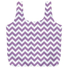 Lilac And White Zigzag Reusable Bag (xl) by Zandiepants