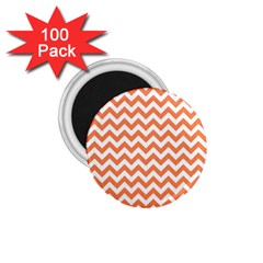 Orange And White Zigzag 1 75  Button Magnet (100 Pack) by Zandiepants