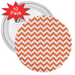 Orange And White Zigzag 3  Button (10 Pack) by Zandiepants