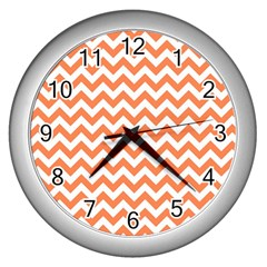 Orange And White Zigzag Wall Clock (silver) by Zandiepants