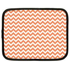 Orange And White Zigzag Netbook Sleeve (large) by Zandiepants