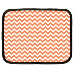 Orange And White Zigzag Netbook Sleeve (xxl) by Zandiepants