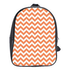 Orange And White Zigzag School Bag (Large) by Zandiepants