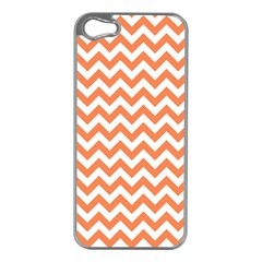 Orange And White Zigzag Apple Iphone 5 Case (silver) by Zandiepants