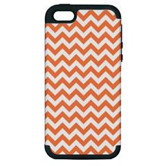 Orange And White Zigzag Apple Iphone 5 Hardshell Case (pc+silicone) by Zandiepants